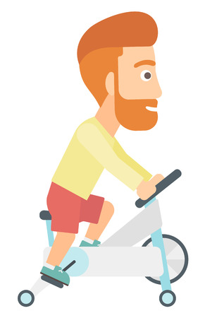 A hipster man with the beard exercising on stationary training bicycle vector flat design illustration isolated on white background. Stock Illustratie
