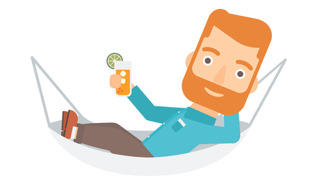 lying in: A hipster man with the beard lying in a hammock and holding a cocktail  vector flat design illustration isolated on white background.