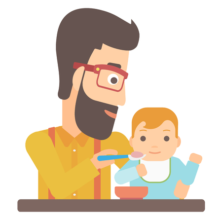 caucasians: A hipster man with the beard feeding baby vector flat design illustration isolated on white background. Illustration