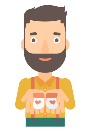 A hipster man with the beard holding baby booties in hands vector flat design illustration isolated on white background.