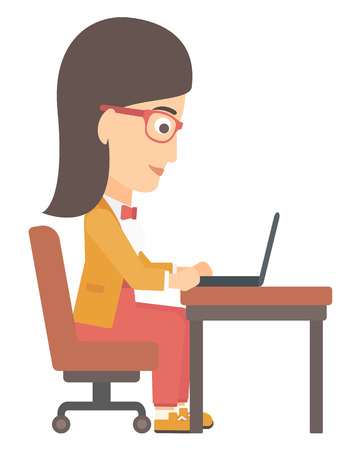 concentrating: A young woman sitting at the table and working at the laptop vector flat design illustration isolated on white background. Illustration