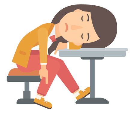 A woman sleeping at the table vector flat design illustration isolated on white background.