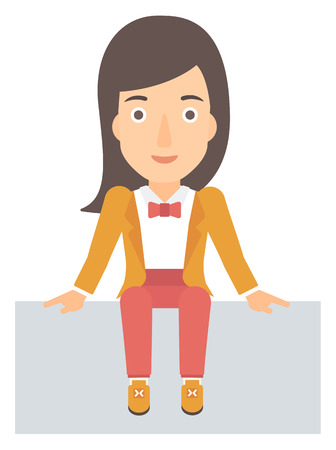 fullbody: A woman sitting vector flat design illustration isolated on white background. Illustration