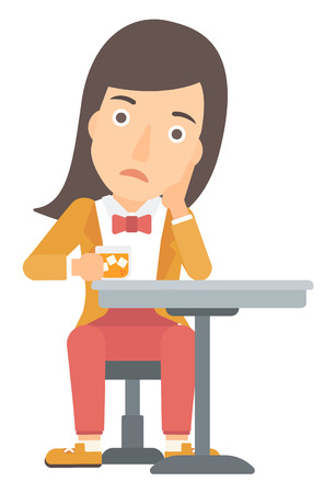 A sad woman sitting at bar with a glass of juice vector flat design illustration isolated on white background.