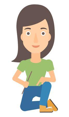 fullbody: A woman sitting vector flat design illustration isolated on white background. Illustration