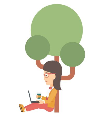 woman using laptop: A woman with cup of coffee studying in park using a laptop vector flat design illustration isolated on white background. Illustration