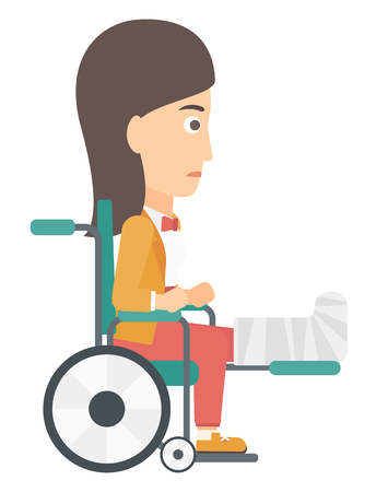 sprain: A patient with broken leg sitting in wheelchair vector flat design illustration isolated on white background.