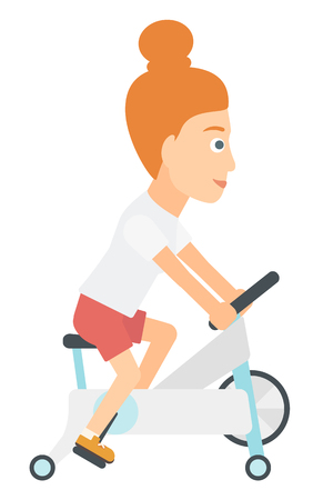 eliptica: Una mujer de ejercicio en una máquina de vector diseño plano elíptico aislado sobre fondo blanco.