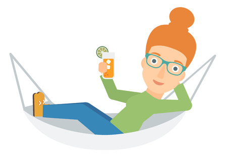 lying in: A woman lying in a hammock and holding a cocktail  vector flat design illustration isolated on white background.