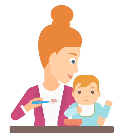 baby and mother: A young mother feeding baby vector flat design illustration isolated on white background.