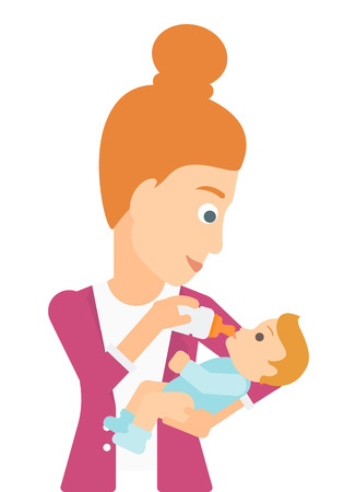 woman drinking milk: A woman feeding a little baby with a milk bottle vector flat design illustration isolated on white background.