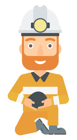 miner: A miner holding coal in hands vector flat design illustration isolated on white background.