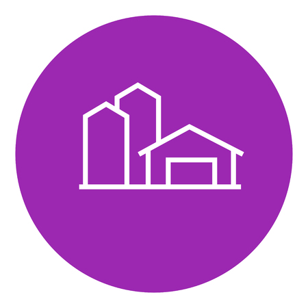 country store: Farm buildings thick line icon with pointed corners and edges for web, mobile and infographics. Vector isolated icon.