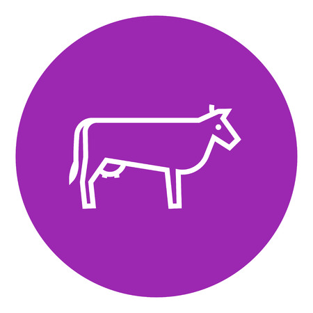 Cow thick line icon with pointed corners and edges for web, mobile and infographics. Vector isolated icon.