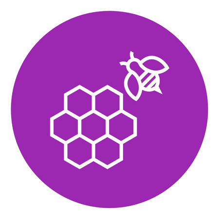 cellphone icon: Honeycomb and a bee thick line icon with pointed corners and edges for web, mobile and infographics. Vector isolated icon.