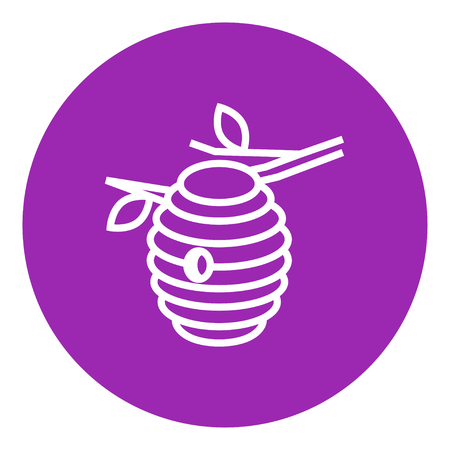 Bee hive thick line icon with pointed corners and edges for web, mobile and infographics. Vector isolated icon. Ilustrace