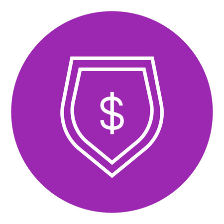 Shield with dollar symbol thick line icon with pointed corners and edges for web, mobile and infographics. Vector isolated icon. Illustration