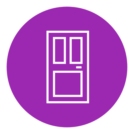 front door: Front door thick line icon with pointed corners and edges for web, mobile and infographics. Vector isolated icon. Illustration