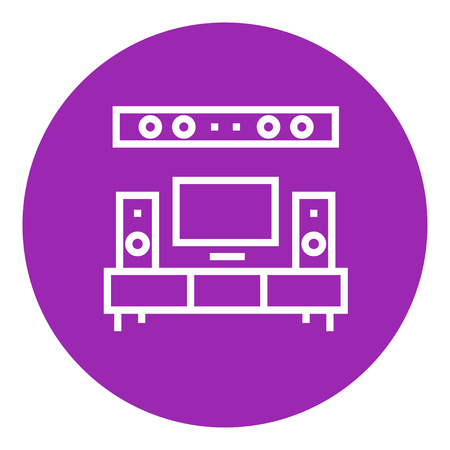 home theater: TV flat screen and home theater thick line icon with pointed corners and edges for web, mobile and infographics. Vector isolated icon.