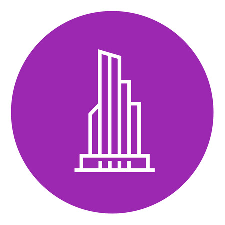 Skyscraper office building thick line icon with pointed corners and edges for web, mobile and infographics. Vector isolated icon. Illustration