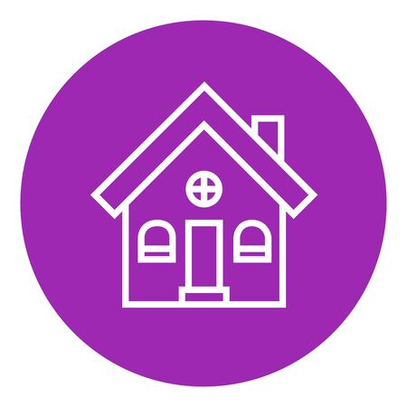 Detached house thick line icon with pointed corners and edges for web, mobile and infographics. Vector isolated icon.
