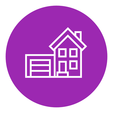 domestic garage: House with garage thick line icon with pointed corners and edges for web, mobile and infographics. Vector isolated icon. Illustration