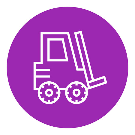 distribution picking up: Forklift thick line icon with pointed corners and edges for web, mobile and infographics. Vector isolated icon.