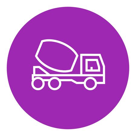 liquidizer: Concrete mixer truck thick line icon with pointed corners and edges for web, mobile and infographics. Vector isolated icon. Illustration