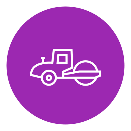 Road roller thick line icon with pointed corners and edges for web, mobile and infographics. Vector isolated icon.