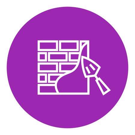 row houses: Spatula with brickwall thick line icon with pointed corners and edges for web, mobile and infographics. Vector isolated icon.