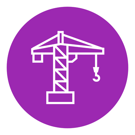 hold high: Construction crane thick line icon with pointed corners and edges for web, mobile and infographics. Vector isolated icon.