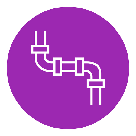 conduit: Water pipeline thick line icon with pointed corners and edges for web, mobile and infographics. Vector isolated icon. Illustration