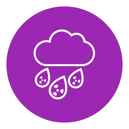 放射性雲と雨の太い線のアイコンは尖った角と web、モバイル、インフォ グラフィックのエッジを持つ。ベクトル分離アイコン。