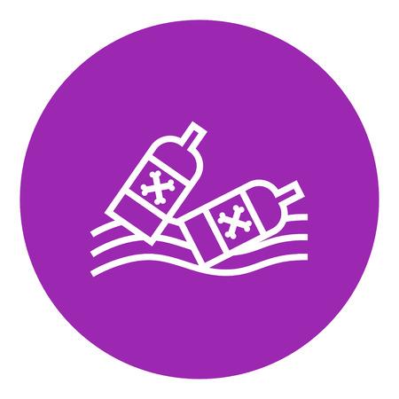 Flaschen in der Icon-Wasser dicke Linie schwimmend mit spitzen Ecken und Kanten für Web, Mobile und Infografiken. Vector isoliert Symbol. Standard-Bild - 55258474