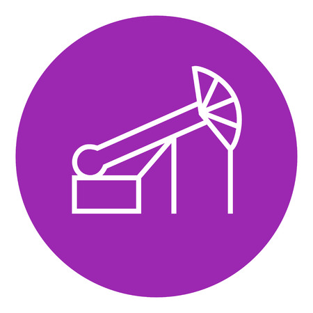 chink: Pump jack oil crane thick line icon with pointed corners and edges for web, mobile and infographics. Vector isolated icon.