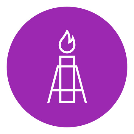 greenhouse gas: Gas flare thick line icon with pointed corners and edges for web, mobile and infographics. Vector isolated icon.