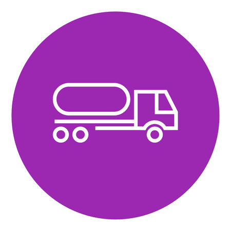 Fuel truck thick line icon with pointed corners and edges for web, mobile and infographics. Vector isolated icon.