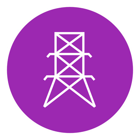 Electric tower thick line icon with pointed corners and edges for web, mobile and infographics. Vector isolated icon.
