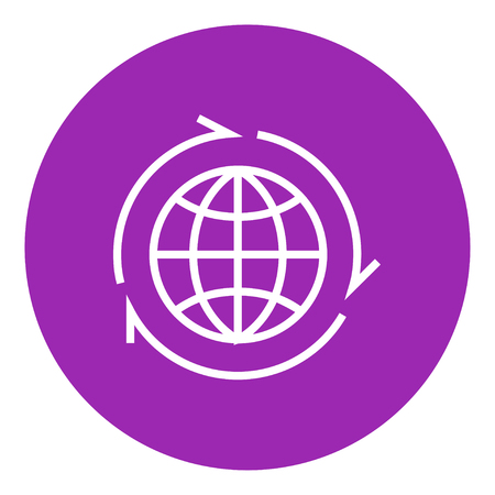 pointed arrows: Globe with arrows thick line icon with pointed corners and edges for web, mobile and infographics. Vector isolated icon.