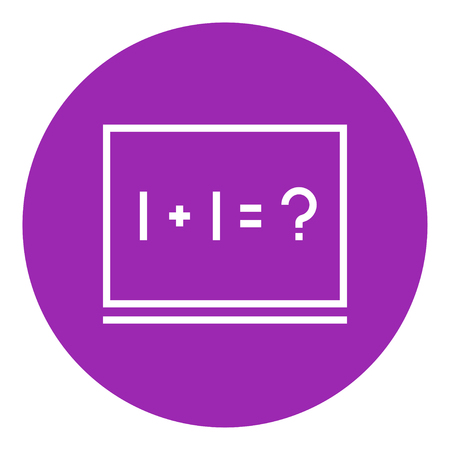 Maths example written on blackboard thick line icon with pointed corners and edges for web, mobile and infographics. Vector isolated icon. Illustration