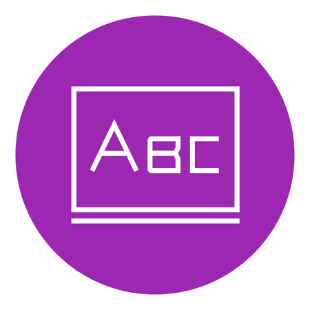 Letters abc on the blackboard thick line icon with pointed corners and edges for web, mobile and infographics. Vector isolated icon. Çizim