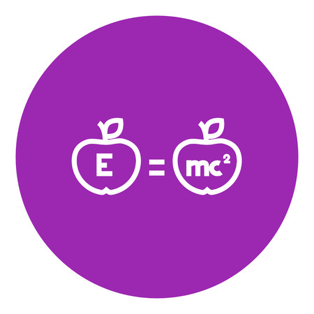 physicist: Two apples with formulae thick line icon with pointed corners and edges for web, mobile and infographics. Vector isolated icon. Illustration