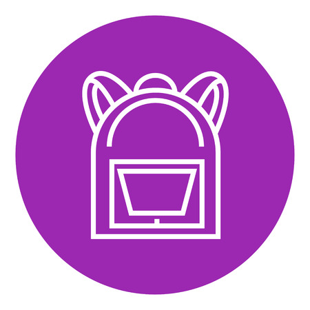 haversack: Backpack thick line icon with pointed corners and edges for web, mobile and infographics. Vector isolated icon.