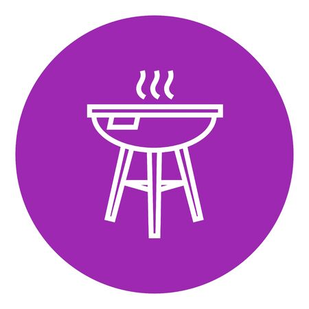 drawn metal: Kettle barbecue grill thick line icon with pointed corners and edges for web, mobile and infographics. Vector isolated icon.