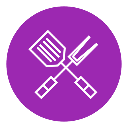 prepare: Crossed kitchen spatula and big fork thick line icon with pointed corners and edges for web, mobile and infographics. Vector isolated icon. Illustration