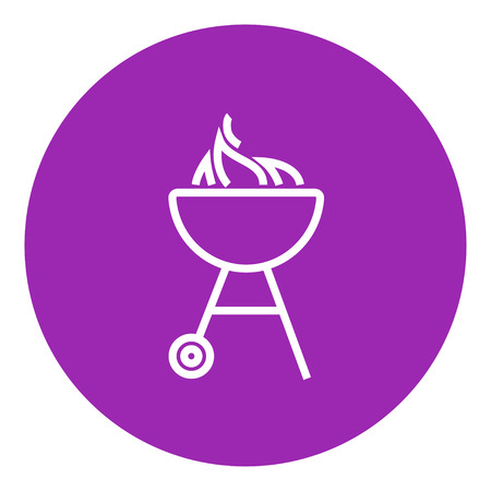 Kettle barbecue grill with flame thick line icon with pointed corners and edges for web, mobile and infographics. Vector isolated icon.