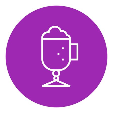 suds: Glass mug with foam thick line icon with pointed corners and edges for web, mobile and infographics. Vector isolated icon. Illustration