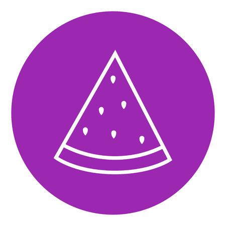 Watermeloen dikke lijn icoon met puntige hoeken en randen voor het web, mobiel en infographics. Vector geïsoleerde pictogram. Stockfoto - 55261119