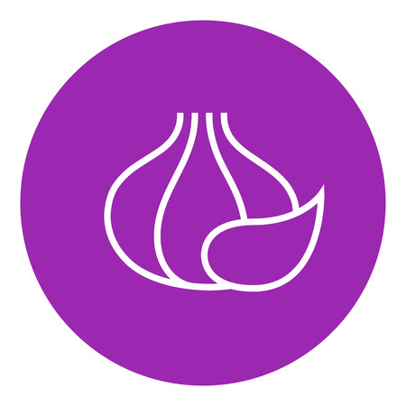 husks: Garlic thick line icon with pointed corners and edges for web, mobile and infographics. Vector isolated icon.