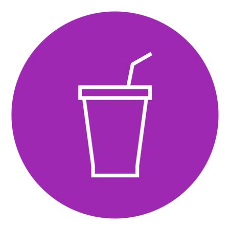 Disposable cup with drinking straw thick line icon with pointed corners and edges for web, mobile and infographics. Vector isolated icon. Çizim
